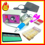 Cumpara ieftin Freza Electrica Unghii Profesionala Pila Electrica+ 30 Capete freza+100TIPSURI
