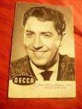Ilustrata Vico Torriani actor si cantaret , cu autograf - Repertoriu Decca, Necirculata, Fotografie