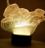 Lampa de Veghe cu Telecomanda si Baterii/USB 3D Model Motocicleta Multicolor