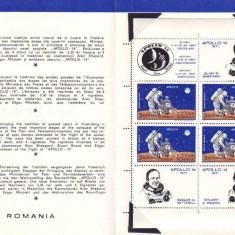 1971 Romania, Apollo 14 bloc LP 758 a, pliant filatelic de prezentare