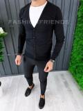Bluza fashion barbati - cu nasturi - neagra - COLECTIE NOUA A6444