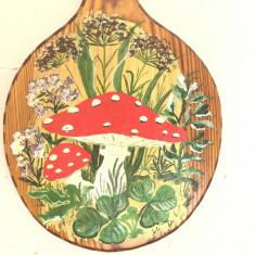 Paleta veche,suport rustic bavarez,de bucatarie din lemn pictat