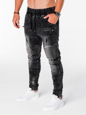 Blugi pentru barbati, negru cu siret, model genunchi, elastici, slim fit - P675 foto