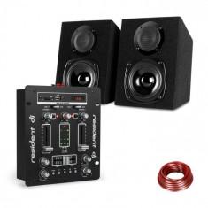 Resident DJ DJ-25, set de echipament, dj mixer + auna st-2000, difuzor, negru / alb