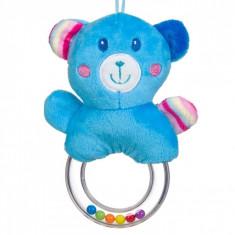 Jucarie zornaitoare, model inel urs, 16cm, albastru