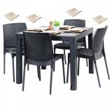 Set exterior gradina TILIVICHE masa patrata CLASSI RATAN 90x90x75cm 4 scaune SUNNY RATTAN polipropilen/fibra sticla culoare cafea,4 perne scaun B00423