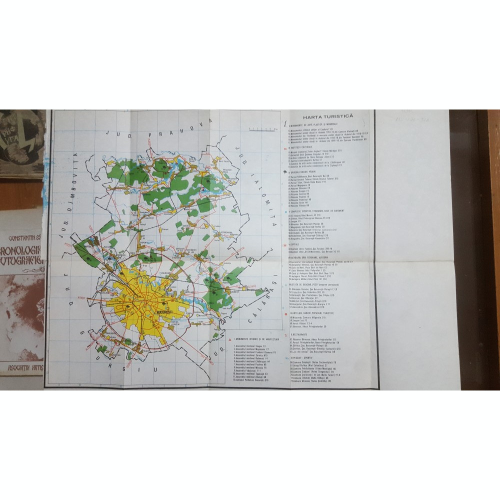 București Harta Turistică Instituții Culturale Gradini Spitale
