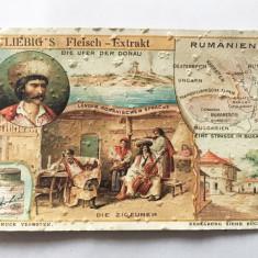 Cartonas vechi reclama aprox 1900 Liebig's Fleisch - Extrakt - Romania - tigani
