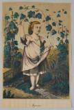 """""""Autumn"""" litografie veche colorata manual"""