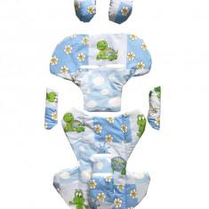 Set perne din bumbac pentru scaun auto copii si bebelusi Deluxe brotacei albastri