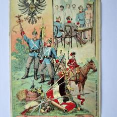 Carte Postala Militara, Germania 1908: Desene eroice - Salutari de la Recrutare