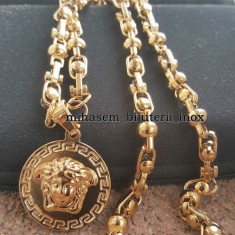 Lant +medalion  INOX placat model Versace Medusa