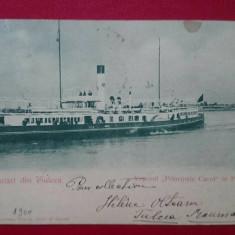 """Salutari din Tulcea Vaporul """"Principele Carol"""" in Portul, Circulata, Printata"""