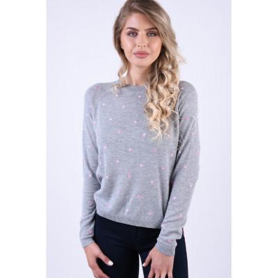 Bluza Vero Moda Hera O-Neck Gri Deschis foto