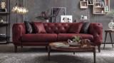 Canapea fixa tapitata cu stofa, 3 locuri Lounge Burgundy, l228xA98xH75 cm, Canapele fixe