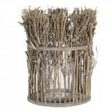 Suport lumanare din lemn natur cu pahar din sticla Ø 21 cm x 28 h Elegant DecoLux, Clayre & Eef