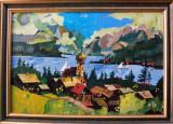 Tablou – pictură naivă colorit deosebit (Peisaj cu biserică)