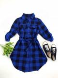 Cumpara ieftin Rochie ieftina casual stil camasa albastru cu negru cu carouri si cordon in talie