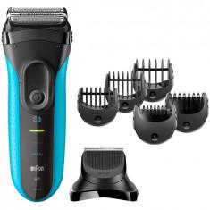 Aparat de ras Braun 3010BT Proskin Shave&Style, Wet&Dry, 3 in 1, 5 accesorii, negru/albastru