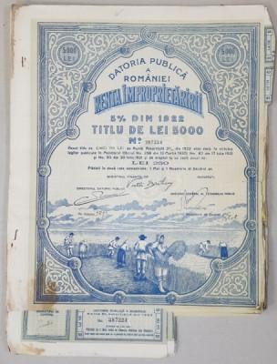 DATORIA PUBLICA A ROMANIEI , RENTA IMPROPIETARIRII ,TITLU DE LEI 5000 , EMIS IN ANUL 1922 foto
