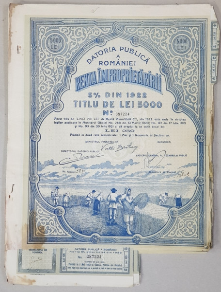 DATORIA PUBLICA A ROMANIEI , RENTA IMPROPIETARIRII ,TITLU DE LEI 5000 , EMIS IN ANUL 1922