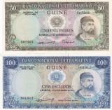 Bancnota Guineea Portugheza (Guineea Bissau) Set 50-100 Escudos 1971 UNC