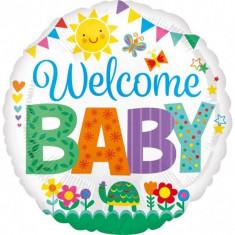 Balon botez folie metalizata 43cm Welcome Baby Cute foto