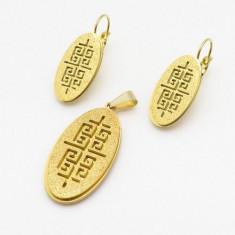 Cercei +medalion   inox placat = 40 ron