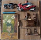 Lot obiecte vechi,tablou,sculptura lemn,aparat de macinat,gaurit burghiu