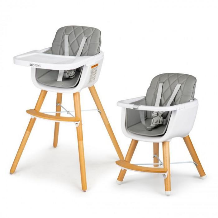 Scaun de masa inaltator pentru copii si bebe 2in1, cu centura de siguranta si picioare din lemn, culoare gri