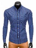 Camasa pentru barbati bleumarin cu model slim fit casual buzunar piept cu guler k394