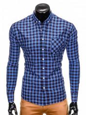 Camasa pentru barbati, bleumarin, cu model, slim fit, casual, buzunar piept, cu guler - k394 foto