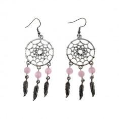 Cercei candelabru Dreamcatcher cu cuart roz natural