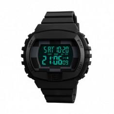 Ceas de barbati Skmei 1304 waterproof cronograf LED digital cu alarma si dual time, negru