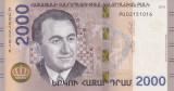 Bancnota Armenia 2.000 Dram 2018 - PNew UNC ( bancnota hibrid - SERIE NOUA )