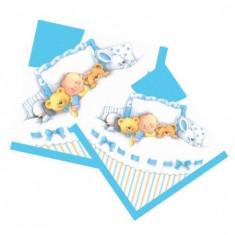 Servetele botez baiat cu ursuleti si animalute Teddy Baby Boy set 20 buc