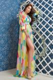 Rochie eleganta Atmosphere de seara din voal multicolor