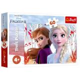 Puzzle copii Trefl 60 piese - Frozen 2, Ana si Elsa