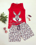 Cumpara ieftin Pijama dama ieftina primavara-vara cu pantaloni scurti gri si maieu rosu cu imprimeu Happy BB