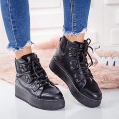 Sneakers dama cu platforma negri Adisri -rl
