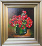 Tablou ghiveci cu flori semnat Cimpoesu