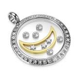Cumpara ieftin Pandantiv din oțel chirurgical - cerc cu lună, stele și zirconii