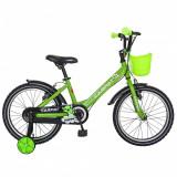 Bicicleta Carpat C1601C 16 V-Brake cosulet si roti ajutatoare 4-6 ani verdenegru