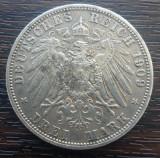 (A704) MONEDA DIN ARGINT GERMANIA, PRUSIA - 3 MARK 1909, LIT. A, WILHELM II, Europa