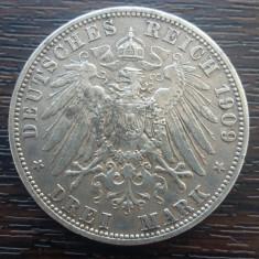 (A704) MONEDA DIN ARGINT GERMANIA, PRUSIA - 3 MARK 1909, LIT. A, WILHELM II