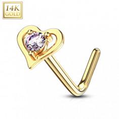 Piercing curbat nas realizat din aur galben 14K - contur în formă de inimă cu zirconiu roz
