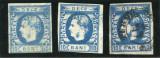 1869 , ROMANIA , Lp 26 , Carol I cu Fav.10 Bani Albastru , 3 nuante de culoare