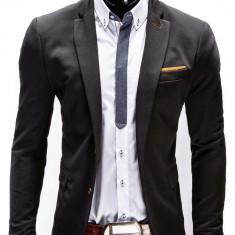 Sacou pentru barbati negru casual slim fit cu buzunare aplicate elegant inchidere doi nasturi M36