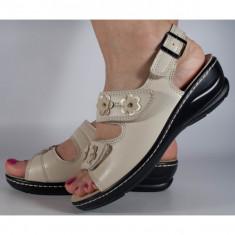 Sandale piele naturala crem model lat (cod SO1)