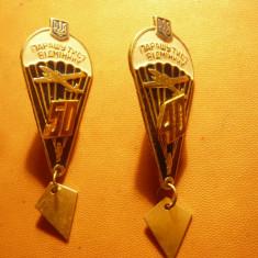 2 Insigne Parasutisti Militari Ukraina ,40 si 50 salturi ,h= 6cm ,metal si email